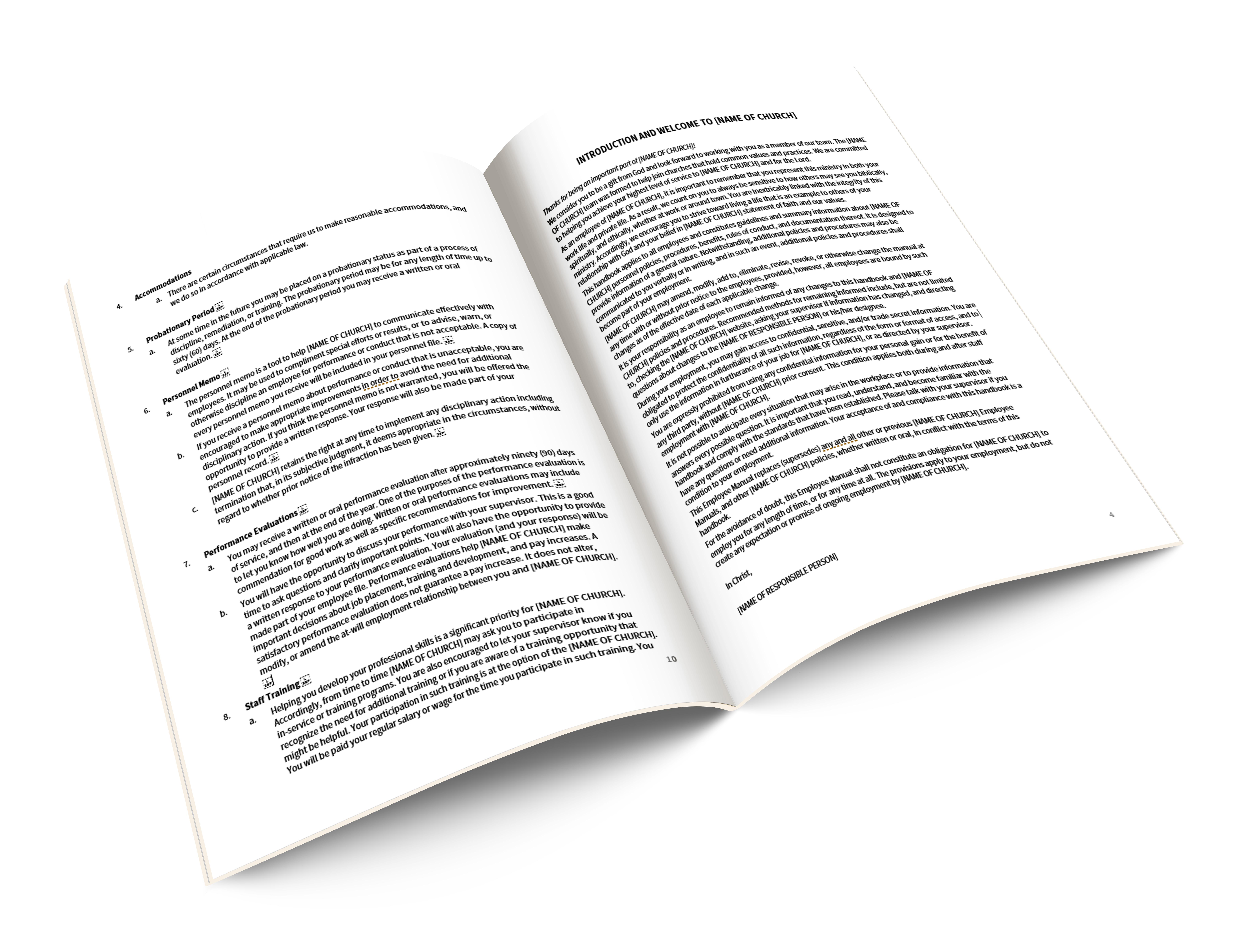 Employee Handbook Template - Vineyard Digital Membership
